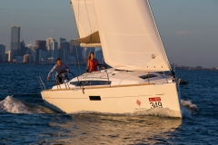Sailing lifestyle onboard Jeanneau 349 in Biscayne Bay, Miami FL.