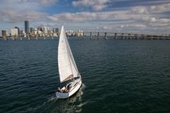 Jeanneau 349 sailing in Biscayne Bay, Miami FL.